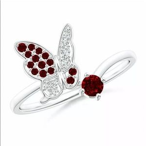 BRAND NEW.925 SILVER RUBY/WHITE SAPPHIRE BUTTERFLY